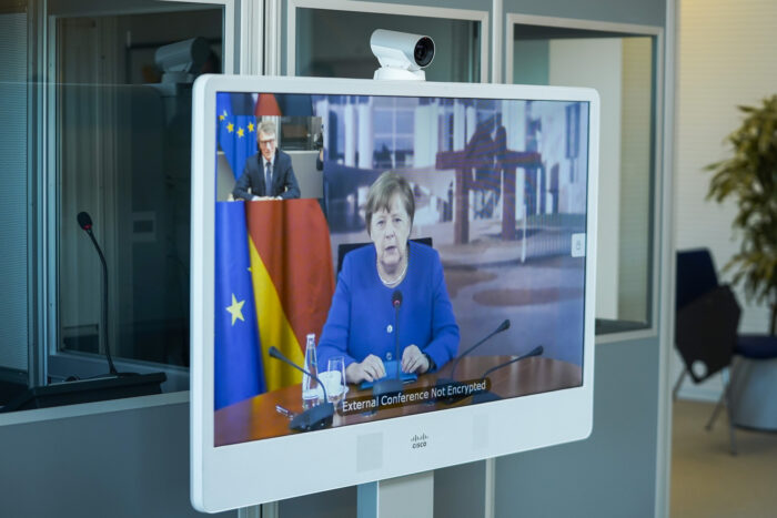 David Sassoli, EP President meets with German Chancellor Angela Merkel over videoconference in May