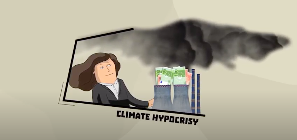 A woman looking at a coal plant emitting fumes, with the tagline 'Climate hypocrisy'
