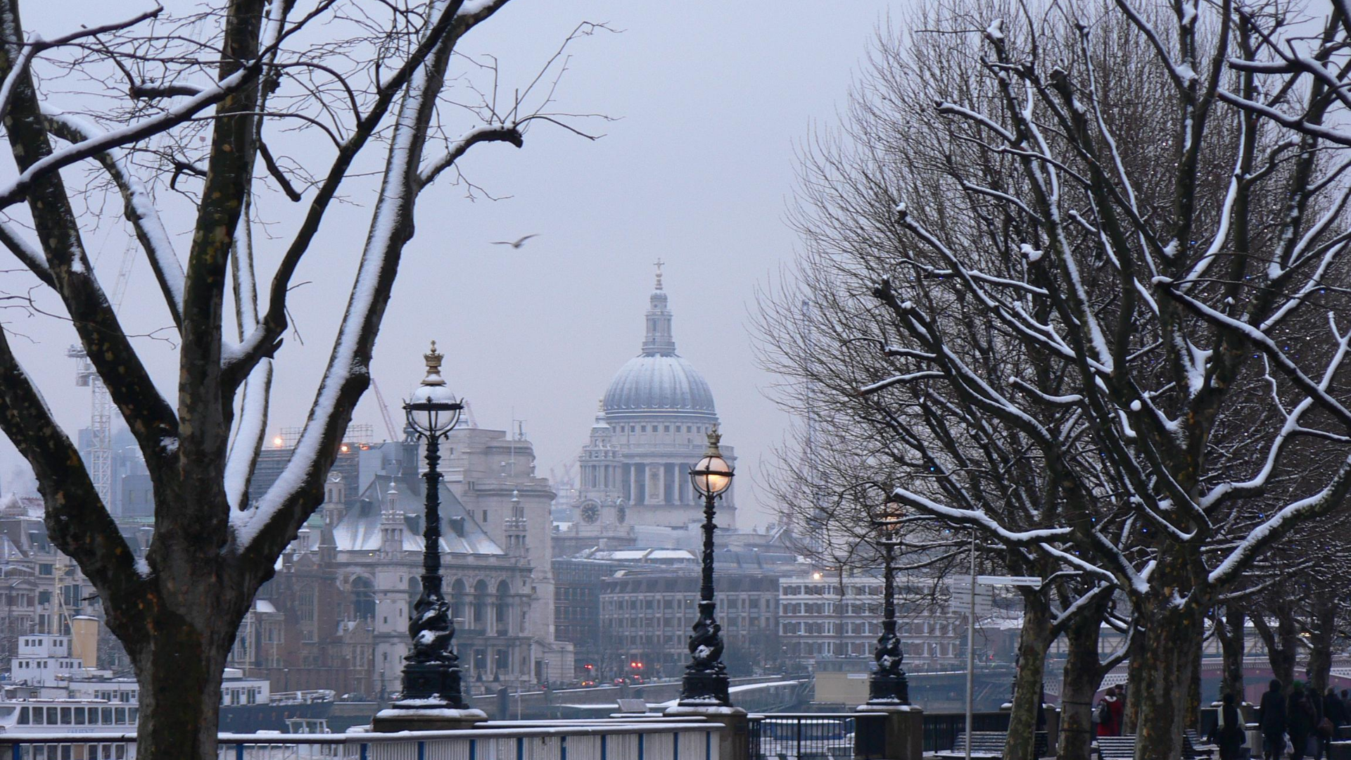 London on a snowy day