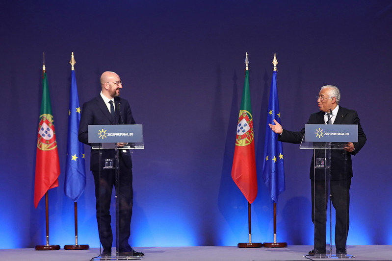 European Council President, Charles Michel (L) accompanied by the Portuguese Prime Minister Antonio Costa (R)
